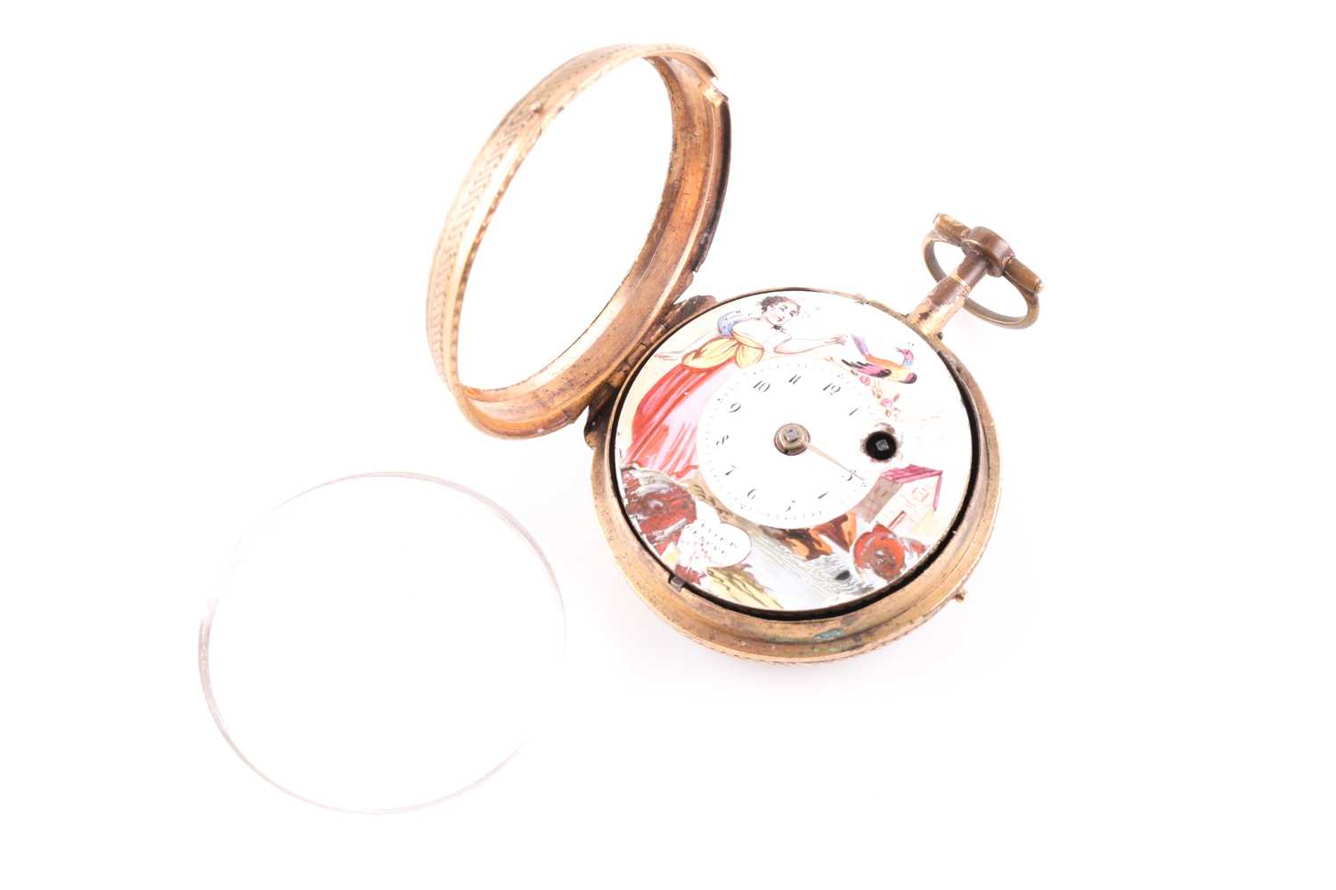 A Georgian gilt and enamel pocket watch by Bouvier of Geneve, the enamel dial painted with a lady - Image 5 of 8