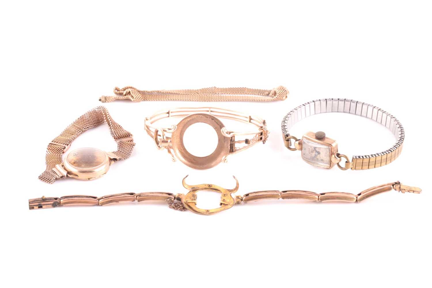 A gold watch frame, bracelet and mount, to fit a pocket watch. the central vacant circular