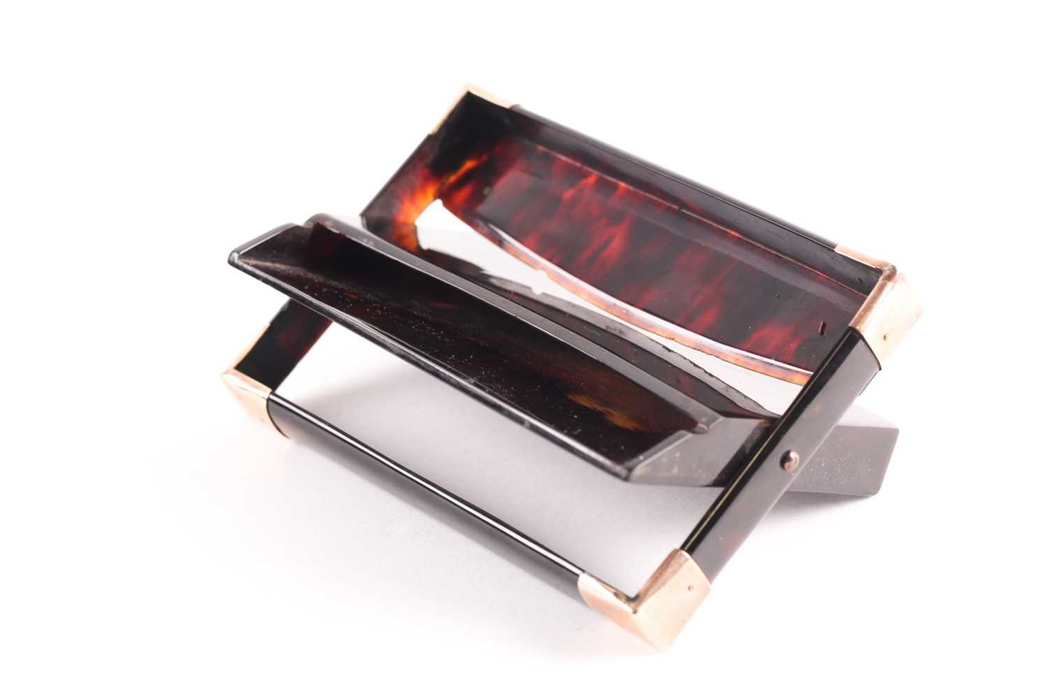 An early 20th century rose gold mounted tortoiseshell card case; rectangular envelope style with - Image 2 of 4