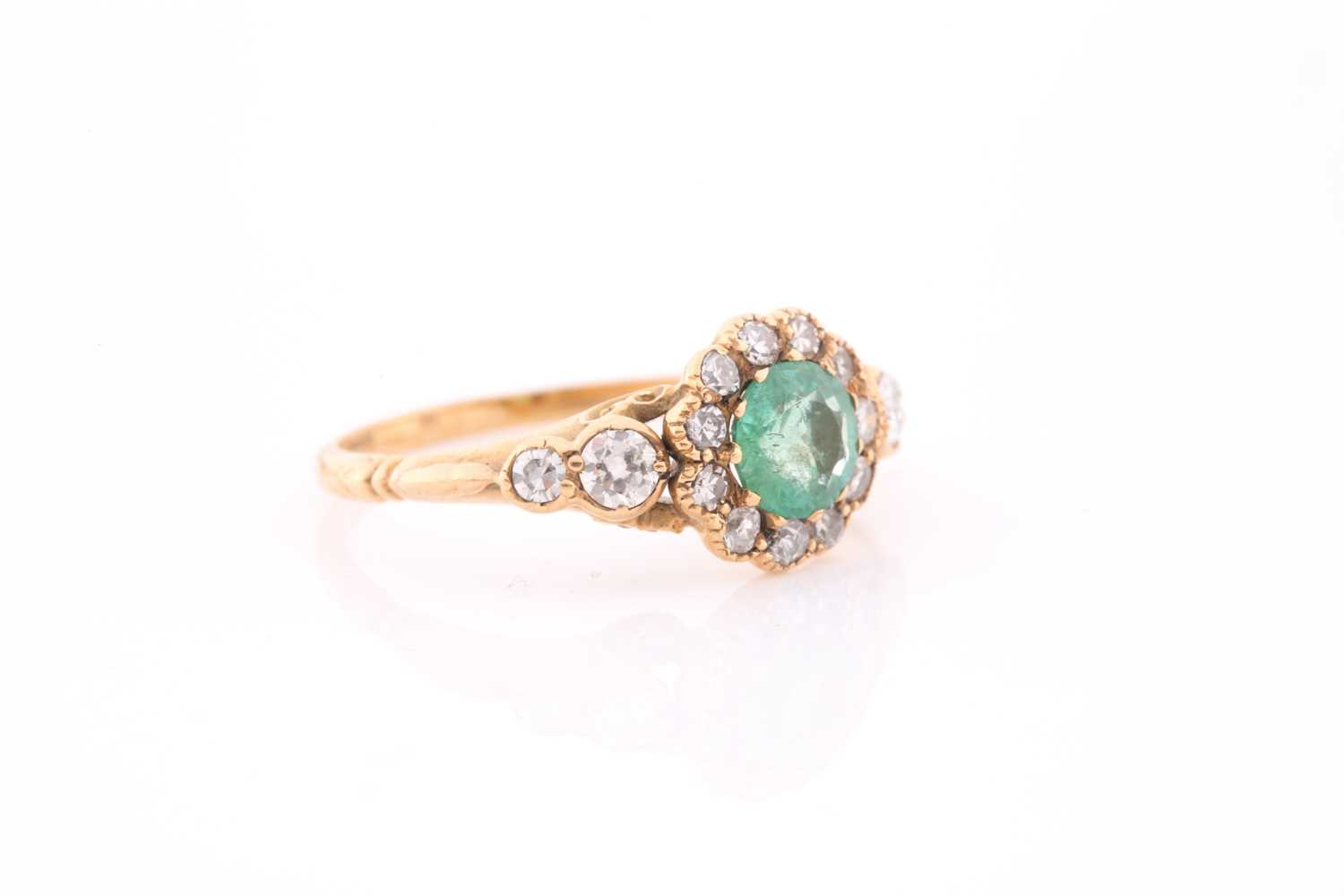 An 18ct yellow gold, diamond, and emerald ring, set with a mixed round-cut emerald, approximately - Image 4 of 4