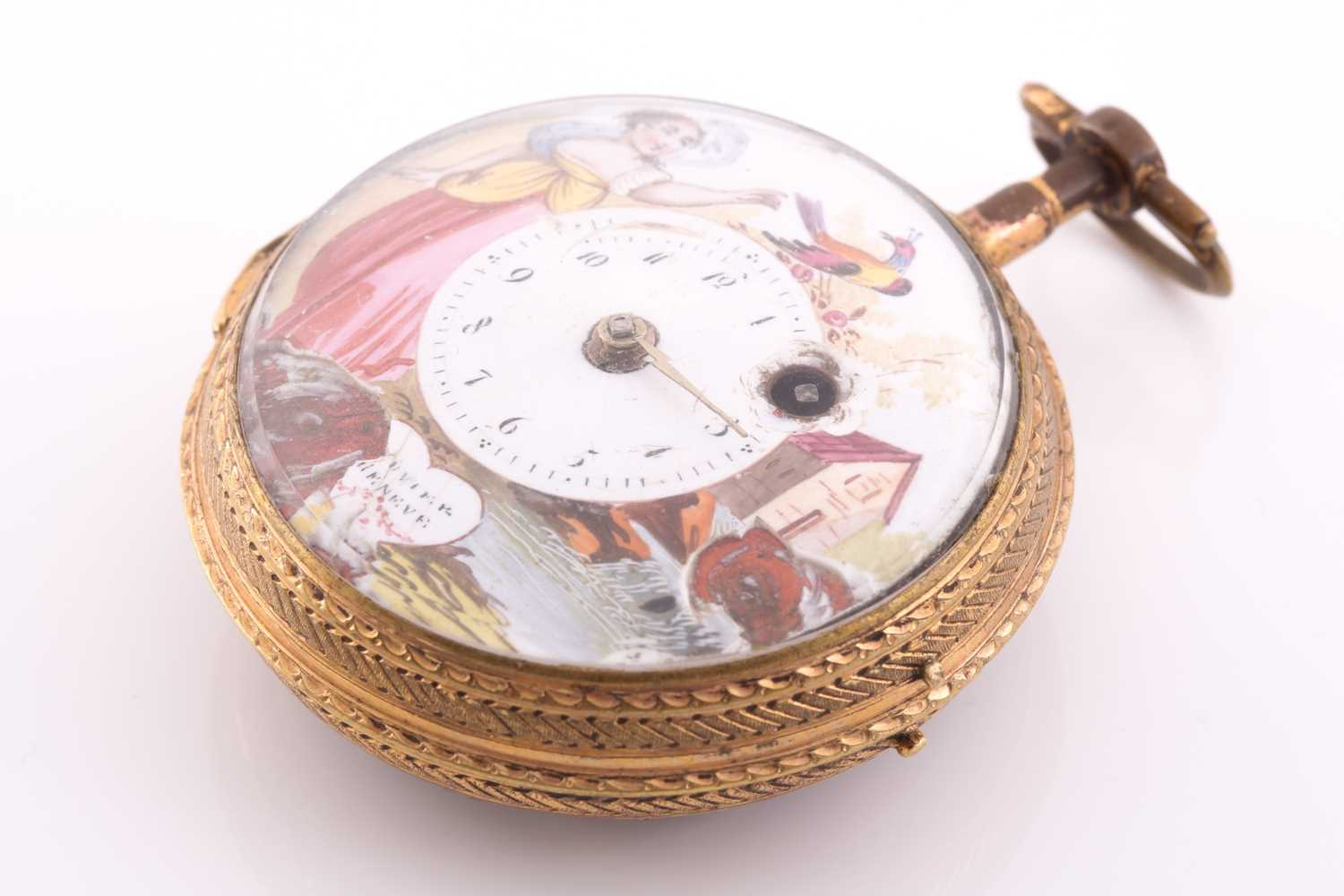 A Georgian gilt and enamel pocket watch by Bouvier of Geneve, the enamel dial painted with a lady