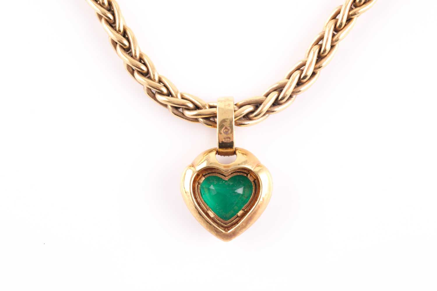 An 18ct yellow gold, diamond, and green stone heart-shaped pendant, with pave-set diamond suspension - Image 2 of 5