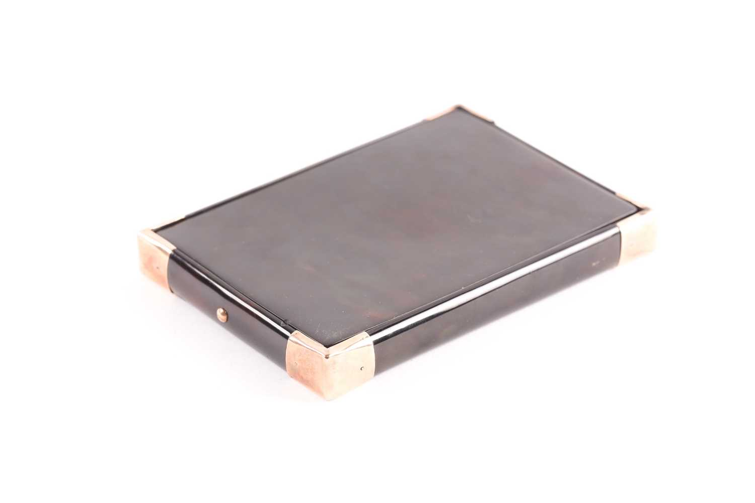 An early 20th century rose gold mounted tortoiseshell card case; rectangular envelope style with - Image 3 of 4