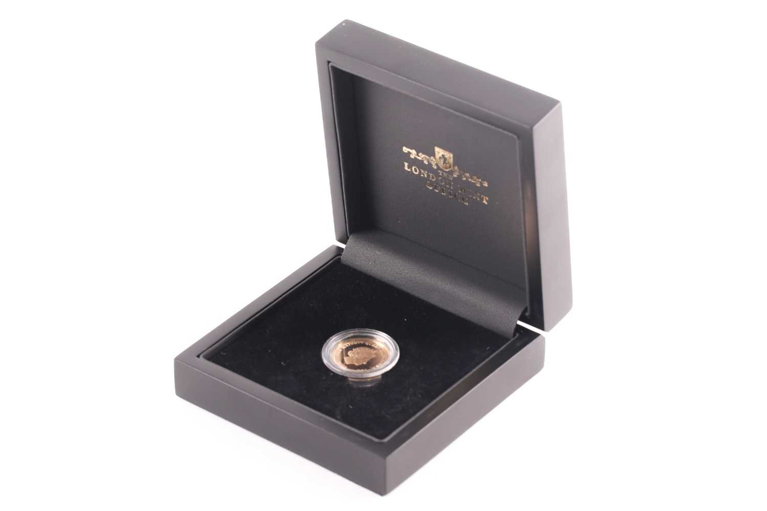 A 2013 Vivat Regina proof sovereign, London Mint Office, boxed, in a capsule and with certificate.