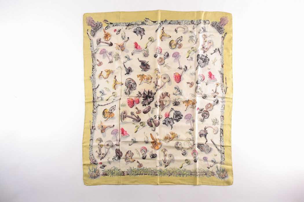 """A Hermes silk square scarf, """"Champignons"""", original design by Francois De la Pierre, the mushrooms"""