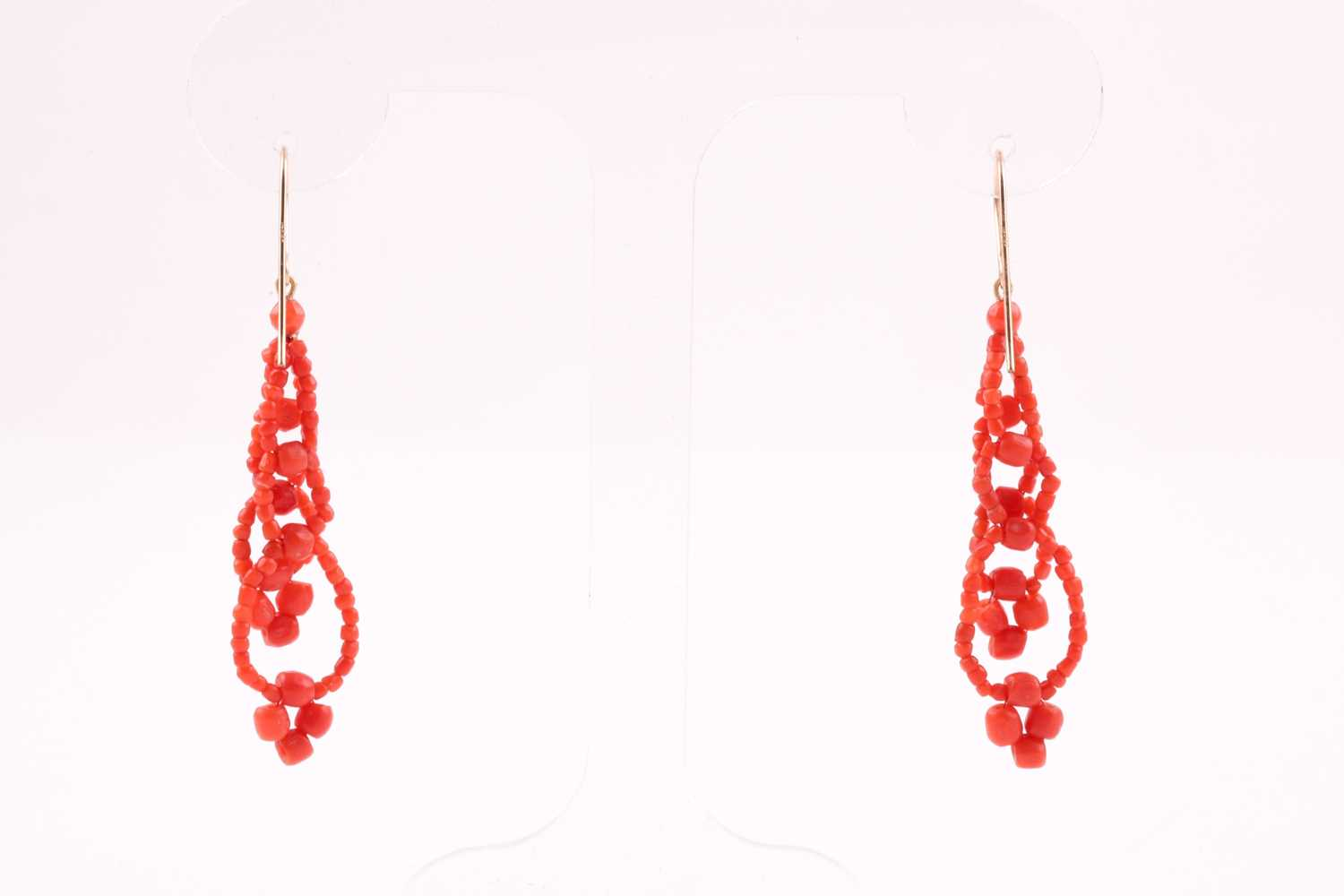 A pair of yellow metal and coral beaded earrings, the coral beads strung into two strands, - Image 4 of 4