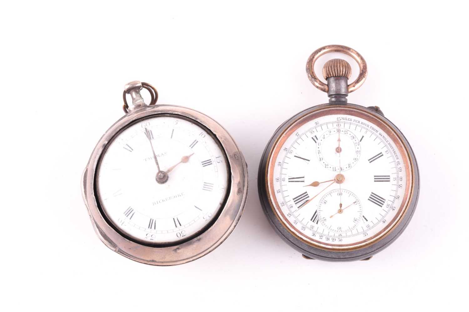 A late 18th century silver pair cased watch, white enamel dial with Roman numerals, signed Thomas, - Image 2 of 3