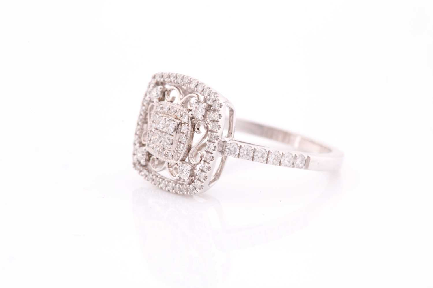 An 18ct white gold and diamond ring, the openwork mount with filigree style decoration, inset with - Image 4 of 4