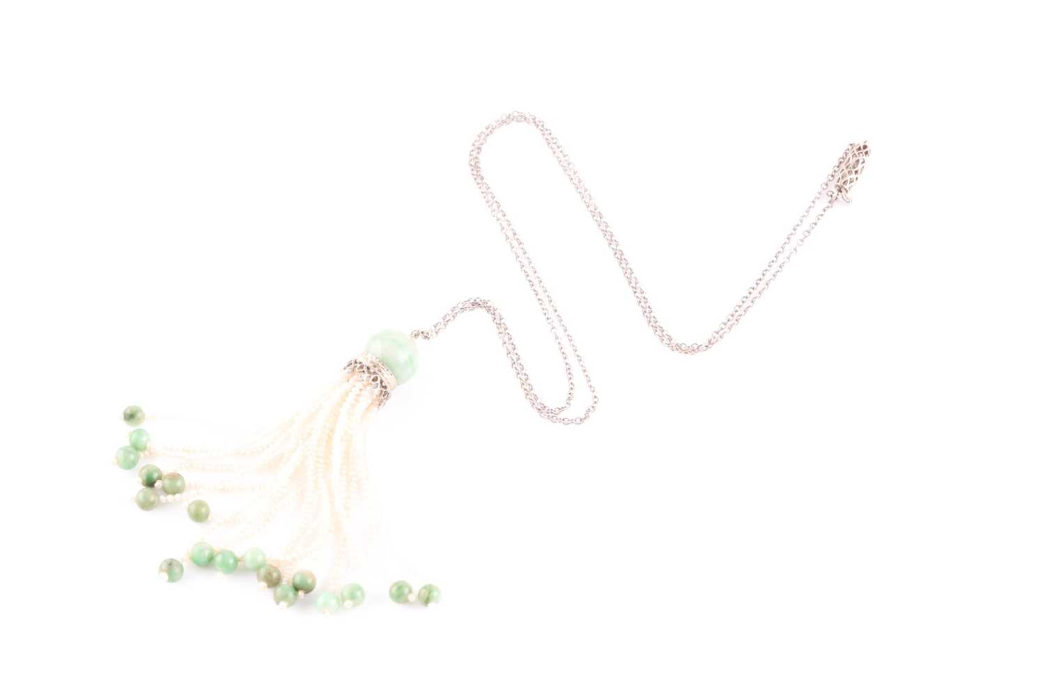 An Art Deco jade and seed pearl tassel pendant necklace, set with a rounded jade bead suspended with - Image 2 of 3
