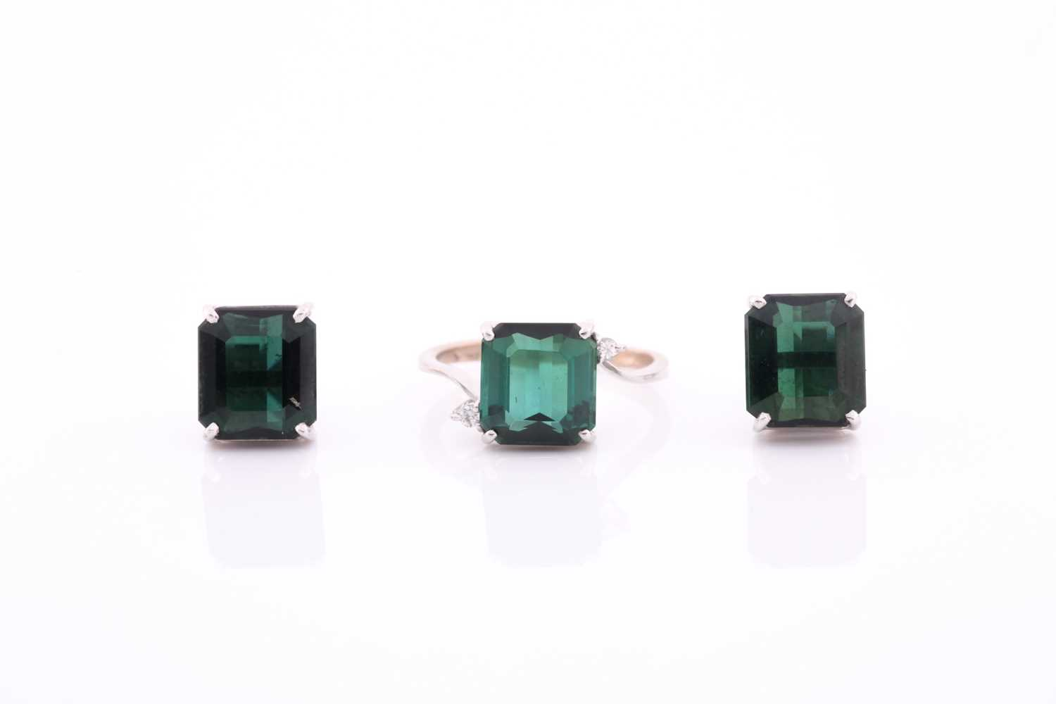 An 18ct white gold, diamond, and synthetic green gemstone ring, size M, together with a pair of 18ct