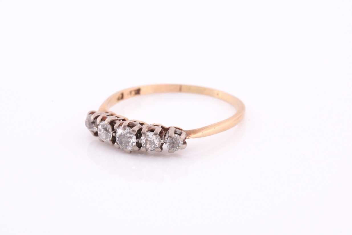 An 18ct yellow gold and diamond ring, set by five old-cut diamonds, the central stone of - Image 3 of 4