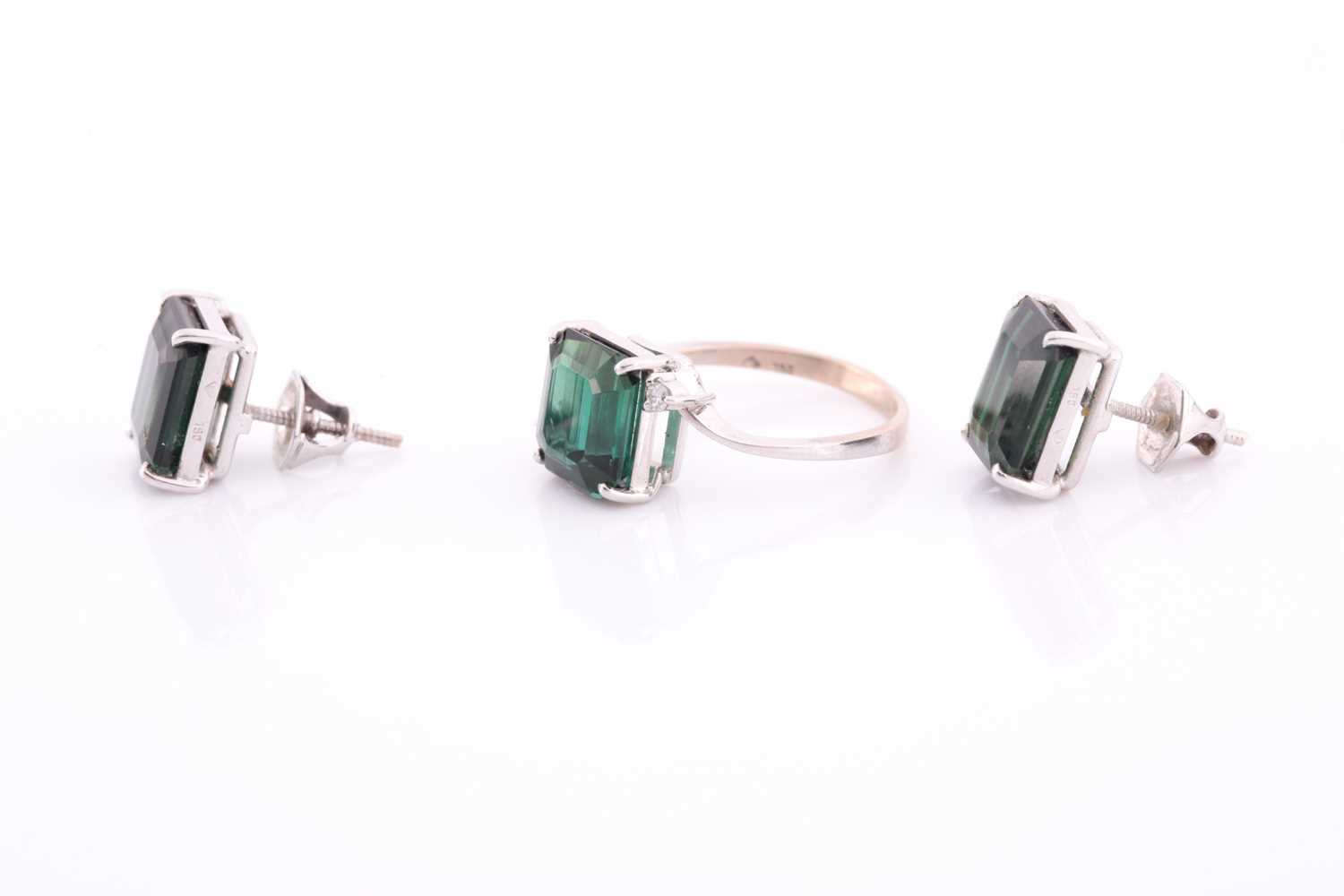 An 18ct white gold, diamond, and synthetic green gemstone ring, size M, together with a pair of 18ct - Image 3 of 3