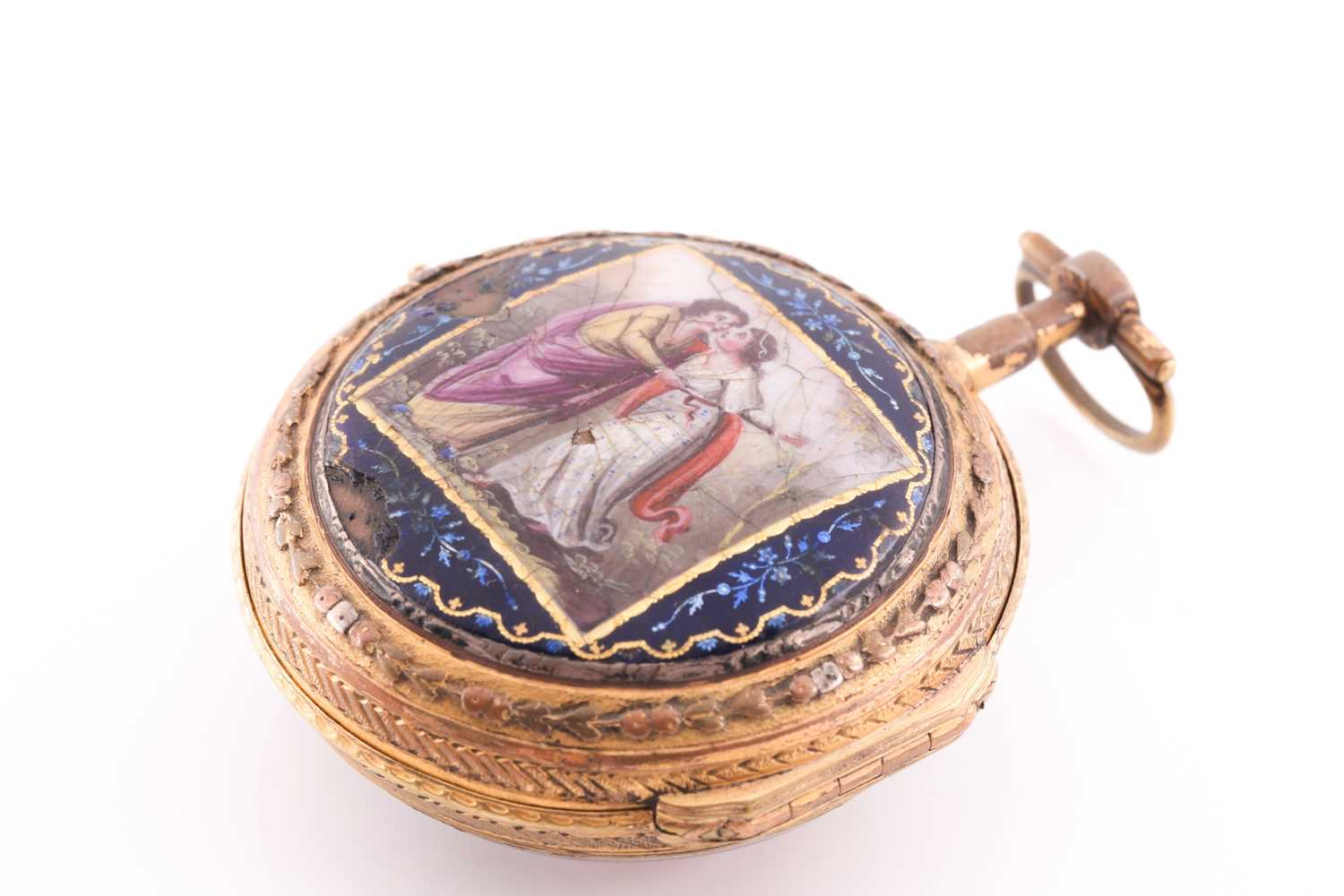 A Georgian gilt and enamel pocket watch by Bouvier of Geneve, the enamel dial painted with a lady - Image 4 of 8