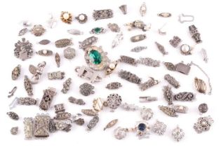 A mixed group of various silver and marcasite set necklace clasps, of various designs and sizes.