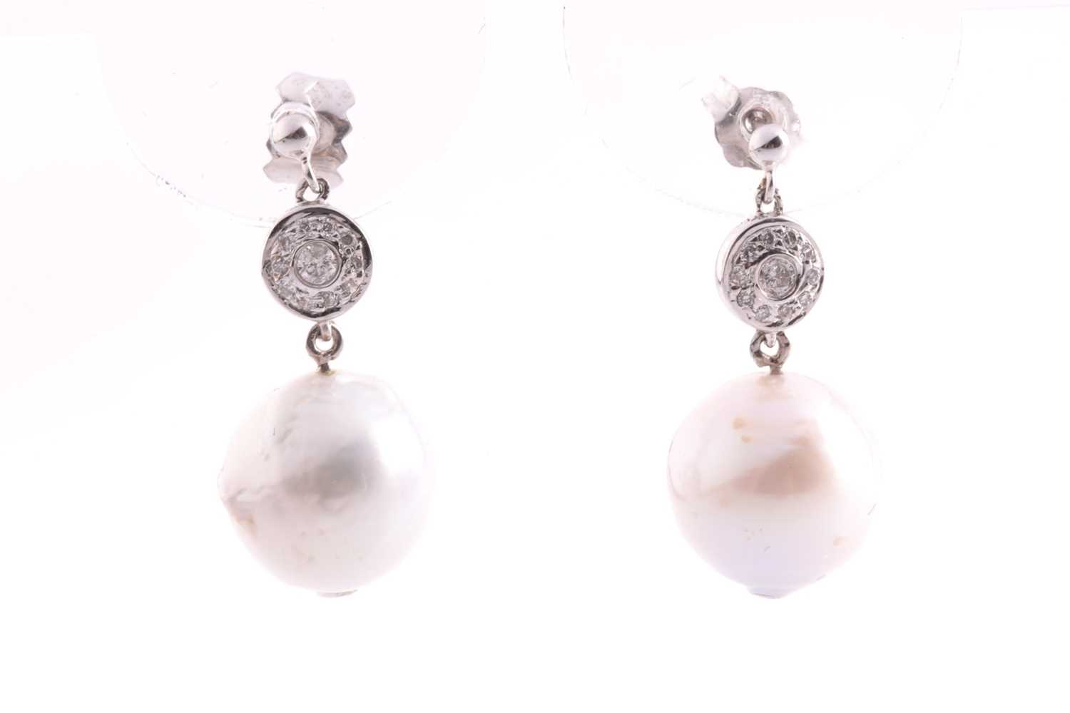 A pair of white gold, diamond, and pearl drop earrings, set with South Sea pearls, approximately