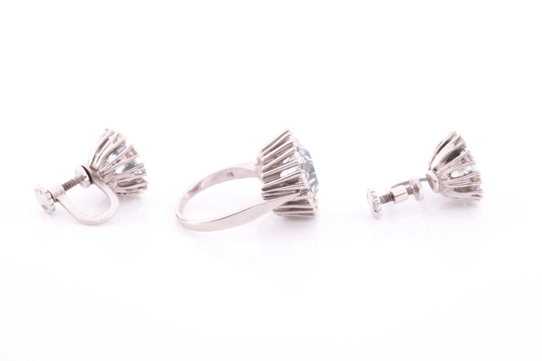 A white gold, diamond, and aquamarine ring, set with a round-cut aquamarine measuring - Image 4 of 4