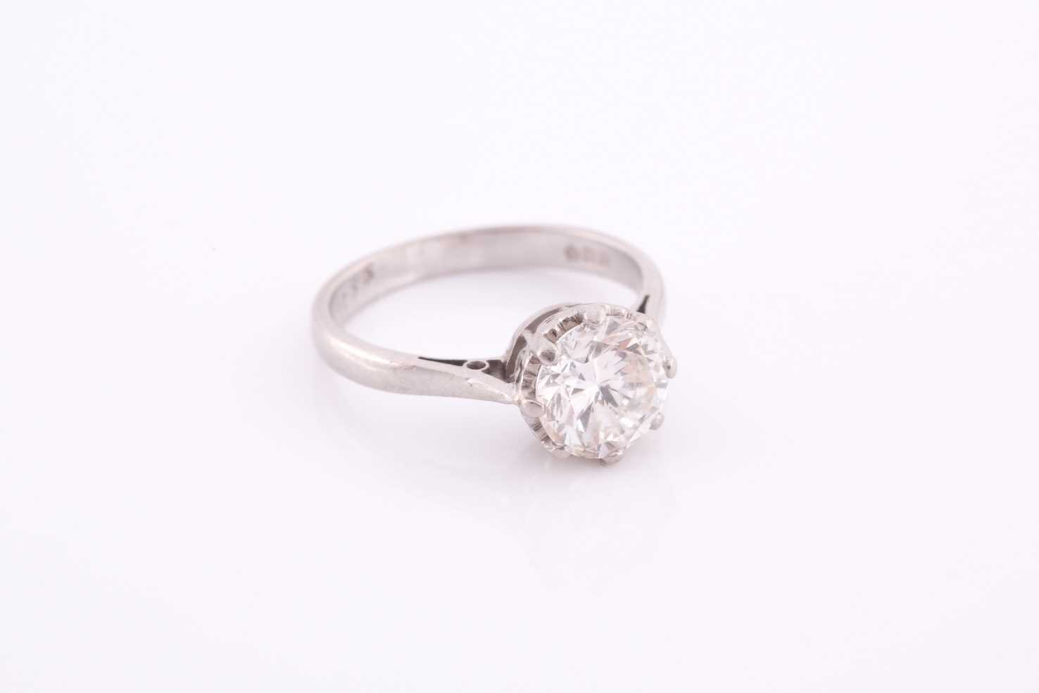 A round brilliant-cut solitiare diamond ring, the diamond of approximately 1.50 carats, - Image 4 of 4