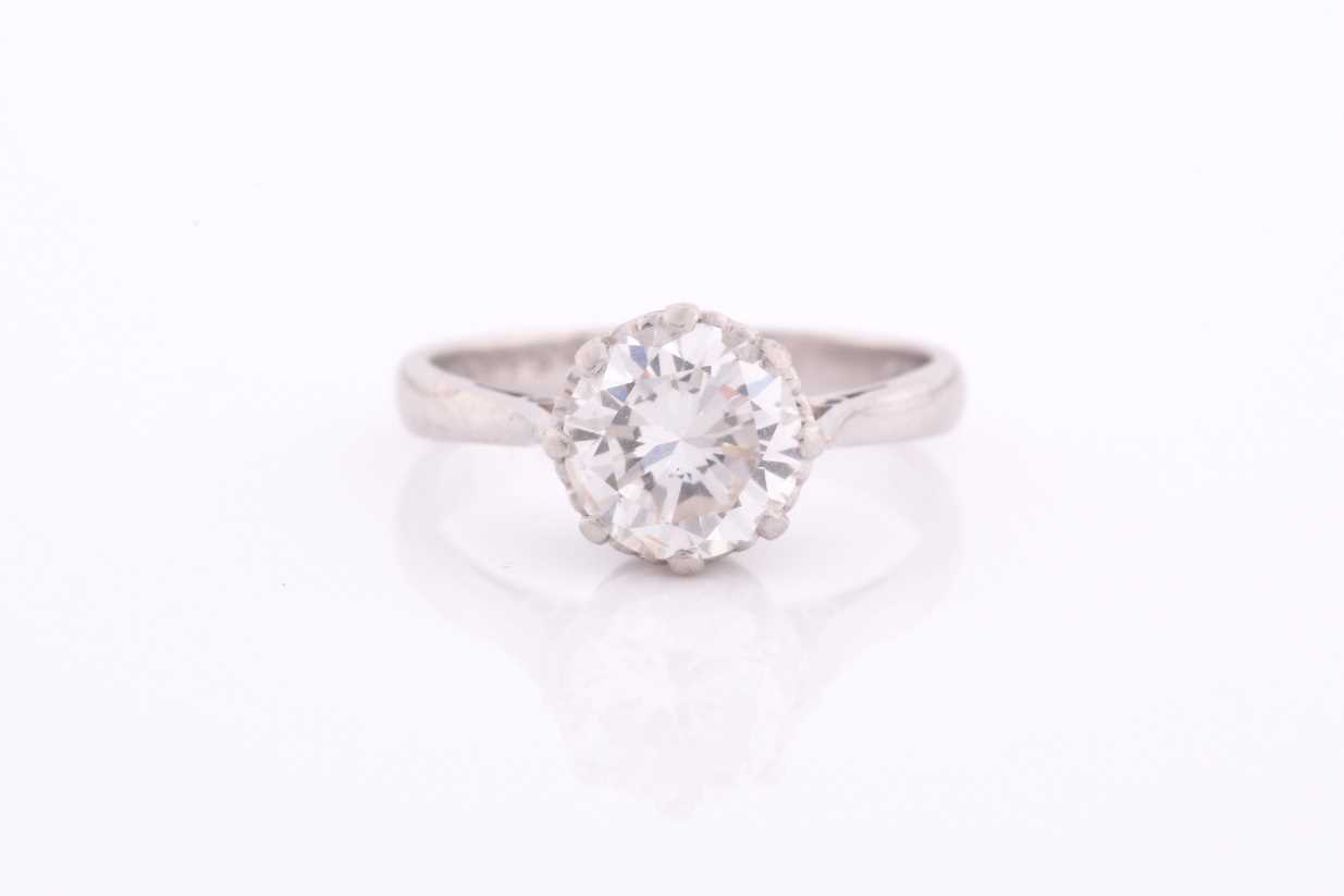 A round brilliant-cut solitiare diamond ring, the diamond of approximately 1.50 carats,