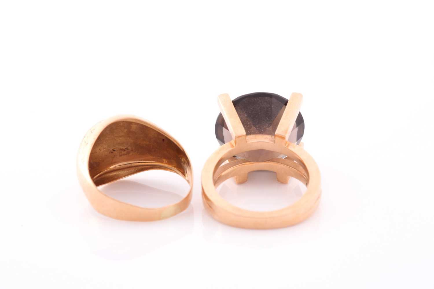 A 14ct yellow gold and smoky quartz ring, the stylised seventies-style mount set with a mixed - Image 2 of 3