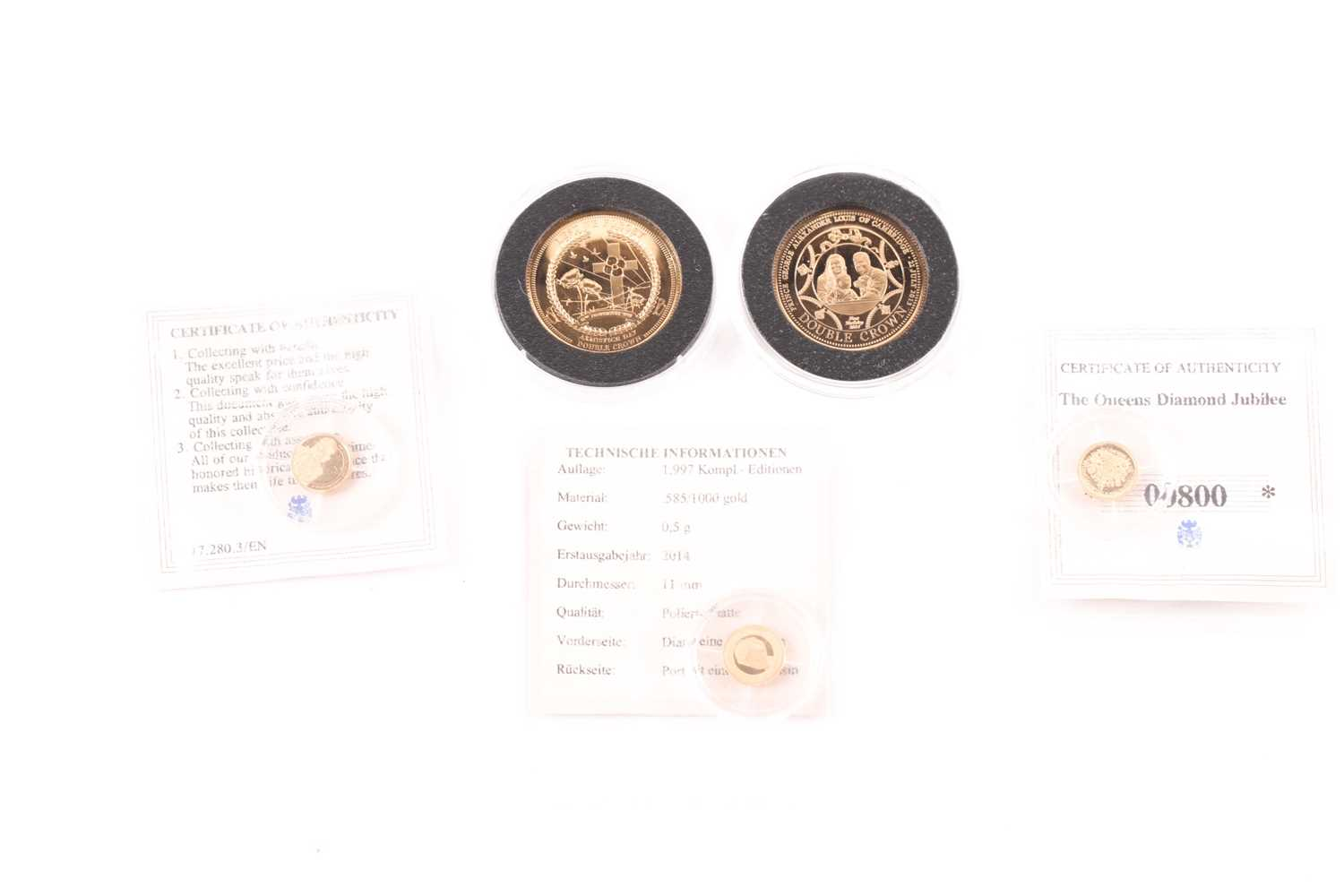 Two boxed 9ct gold proof Double Crowns, commemorating the birth of Prince George (2014) and - Image 8 of 8