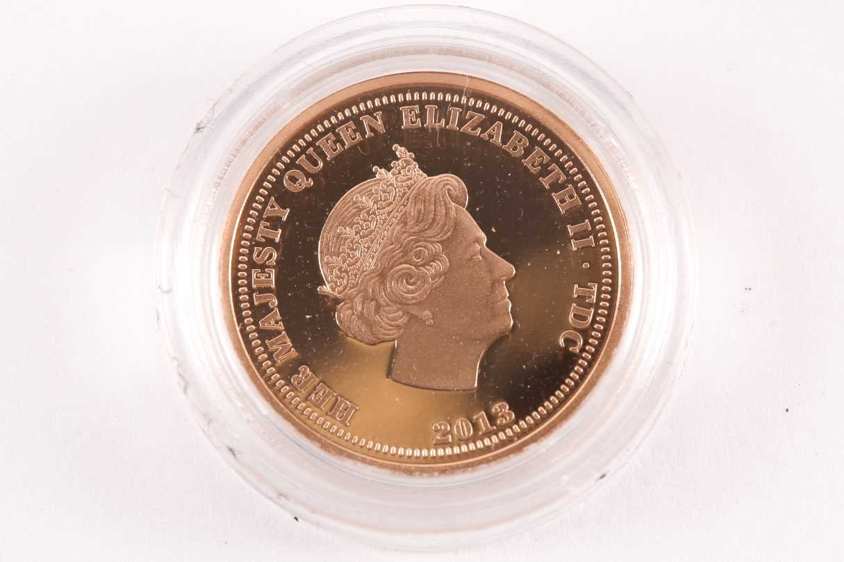 A 2013 Vivat Regina proof sovereign, London Mint Office, boxed, in a capsule and with certificate. - Image 3 of 4