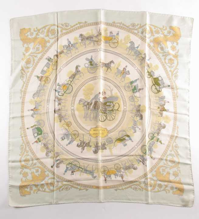 A Hermes silk square scarf printed with La Promenade De Longchamps pattern in yellow and tones of - Image 7 of 8