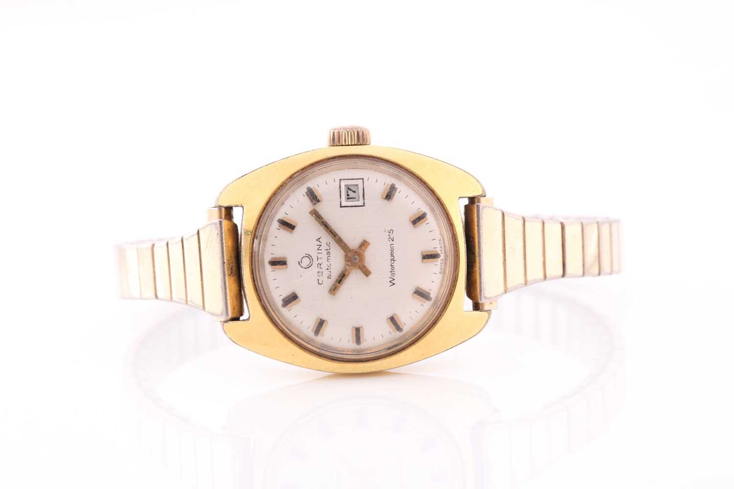 A lady's automatic mixed metal Certina wristwatch. Circular champage dial, baton numerals, date