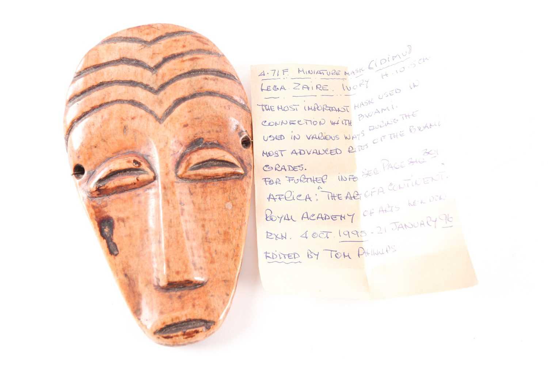 A Lega (Idimu) animal bone Bwami mask, Democratic Republic Congo, the forehead with carved arched - Image 4 of 4