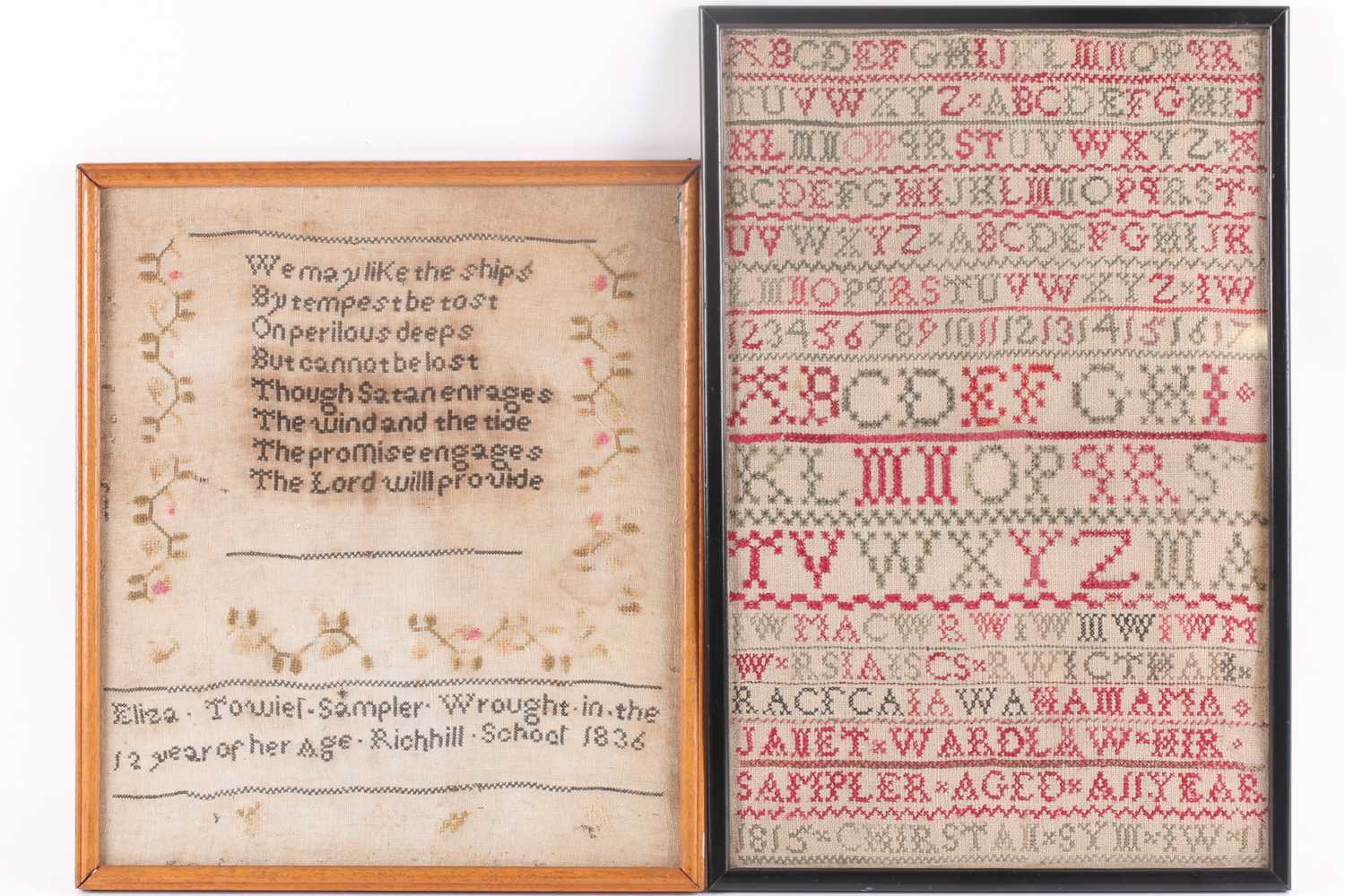 A William IV needlework sampler, with verse from John Newtons 'Olney Hymns ' We may like the ships