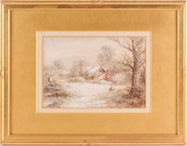 Cecil J. Thornton (1911-2001), figures and buildings in a snowy landscape, watercolour, 19 cm x 26.5