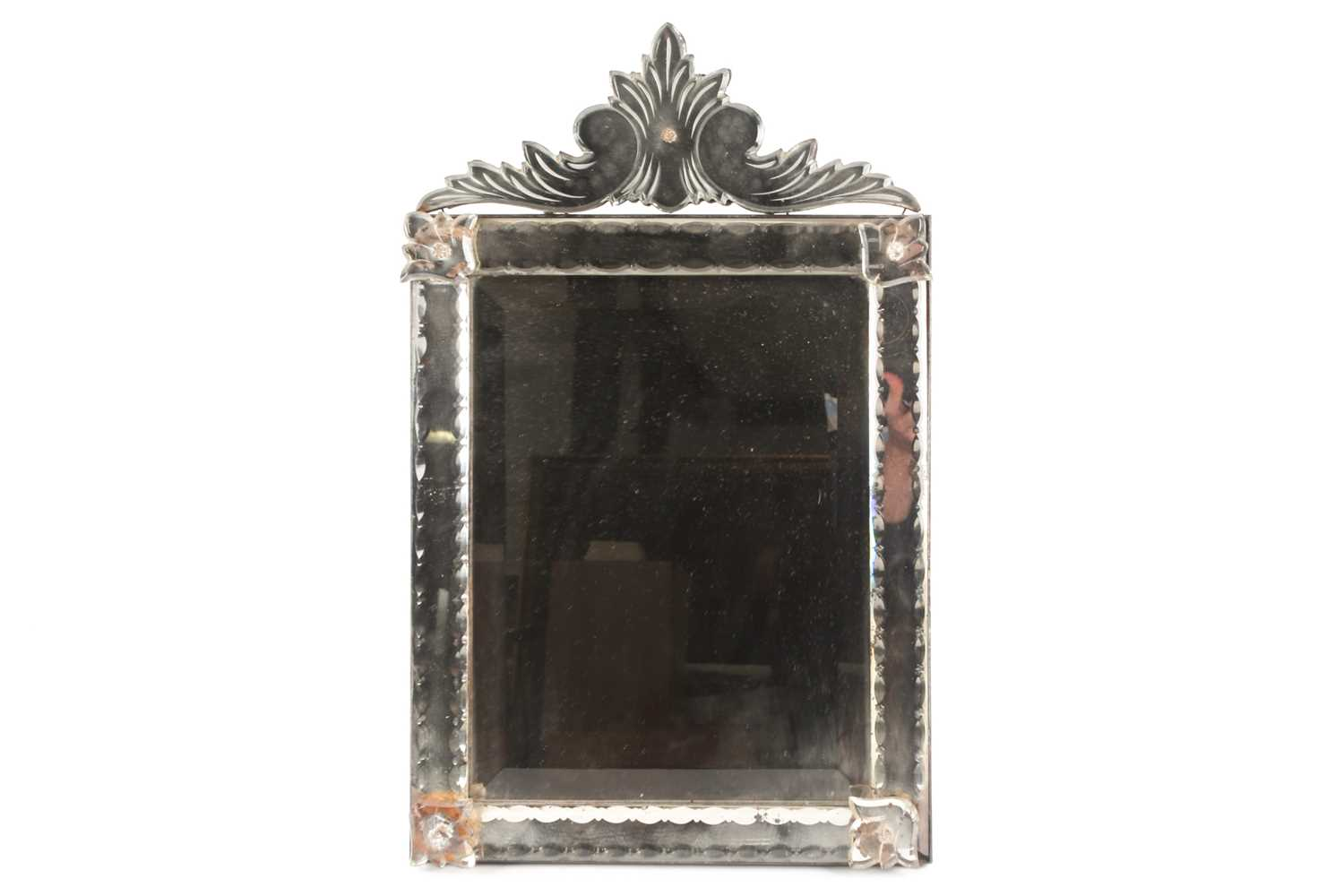 A Venetian dressing table mirror, with scroll surmount and easel back, 62 cm x 38 cm (full - Image 7 of 7