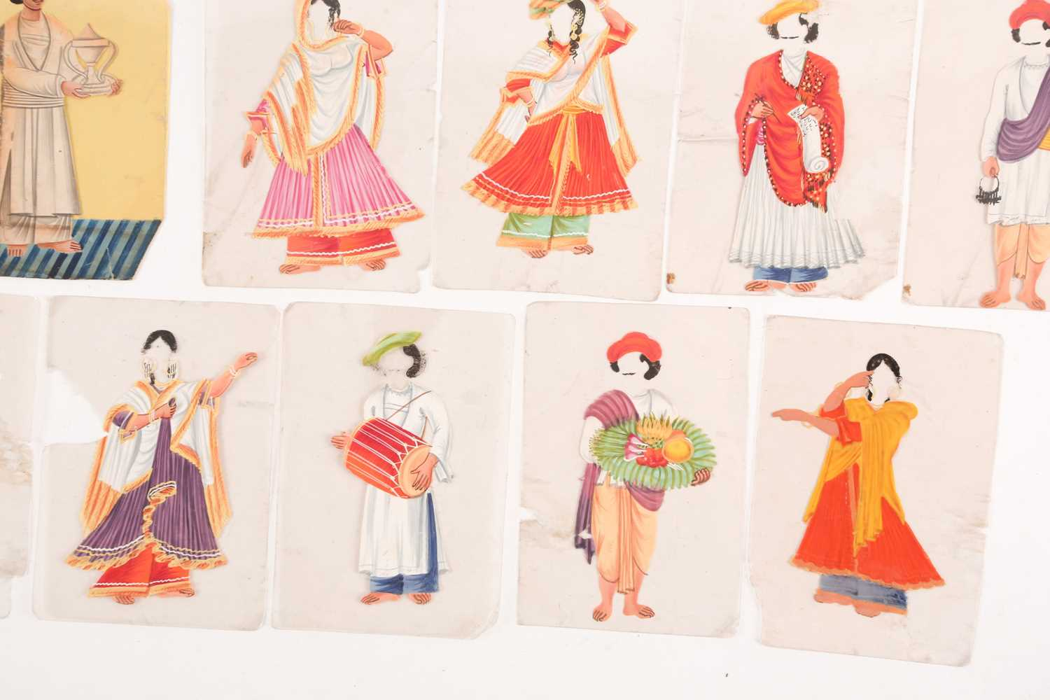 Twenty three Indian Company School mica studies of costumes, 19th century, depicting male and female - Image 9 of 10