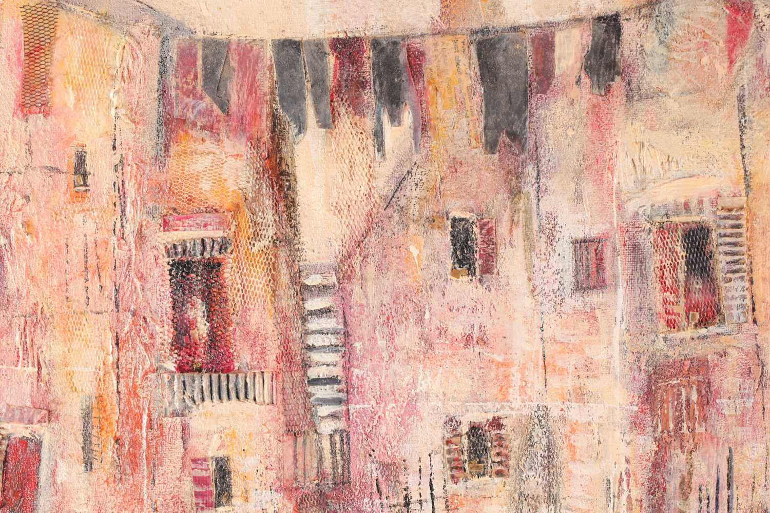 Julie Adlard (20th century), an abstract Venice townscape, oil on canvas, initialled to lower - Image 4 of 4