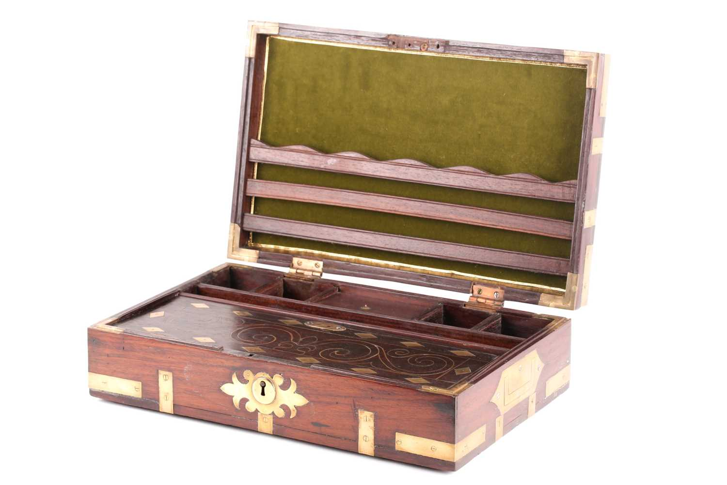 An early 19th-century Anglo-Indian brass bound teakwood campaign correspondence box. With sunken - Image 3 of 4