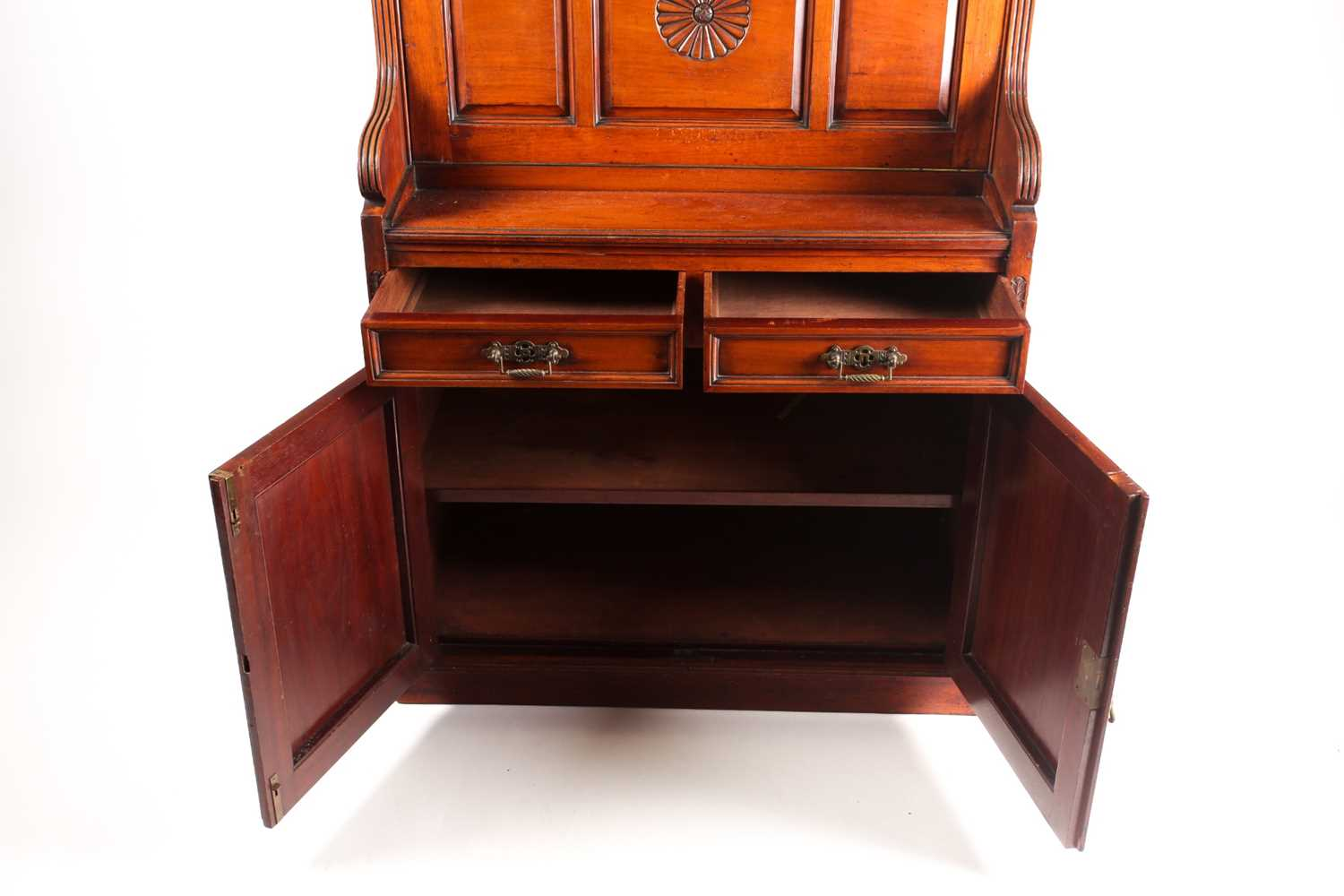 A late 19th-century Aesthetic design walnut fall front secretaire with fitted and leathered - Image 5 of 6