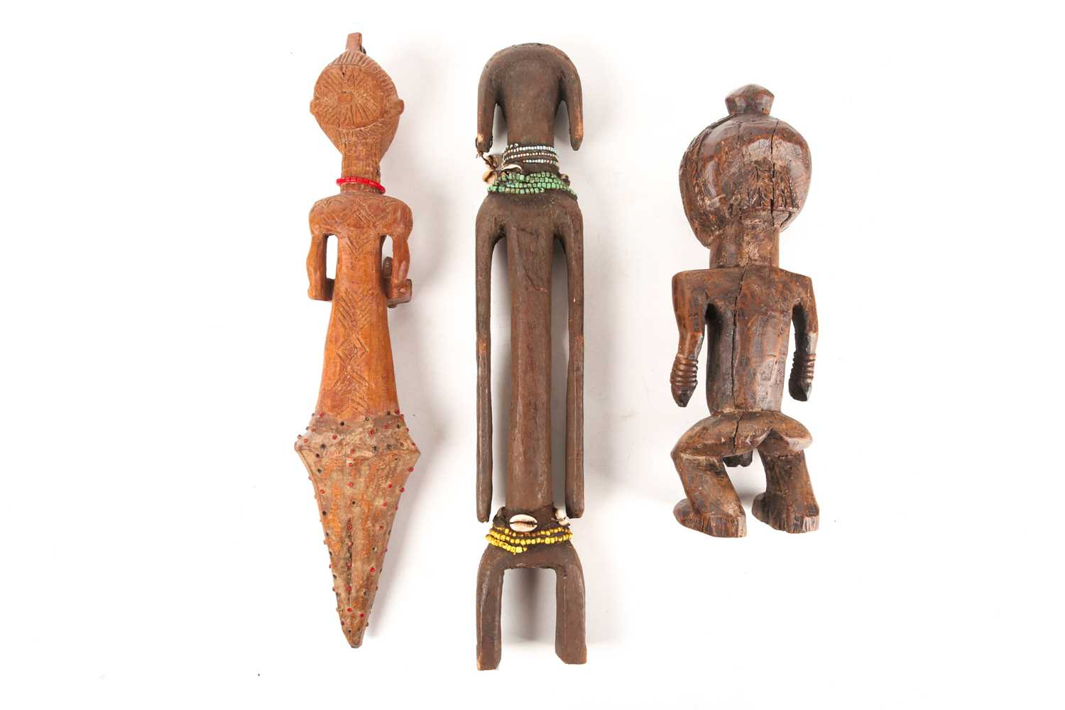 A Mumuye standing ancestor figure, Nigeria, adorned with coloured glass beads and cowrie shells, the - Image 2 of 2