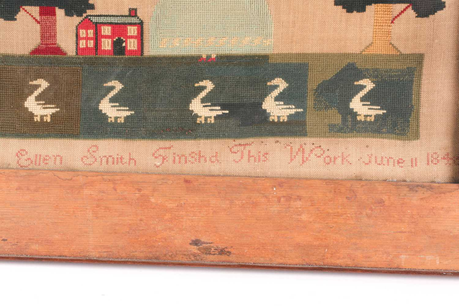 A large 19th century sampler, with trumpeting angels flanking verse ' Be vituous while you are - Image 3 of 4