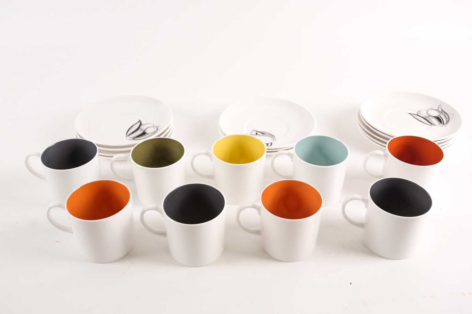 A collection of Susie Cooper black fruit pattern coffee cans and saucers, the cans with variously - Image 3 of 7