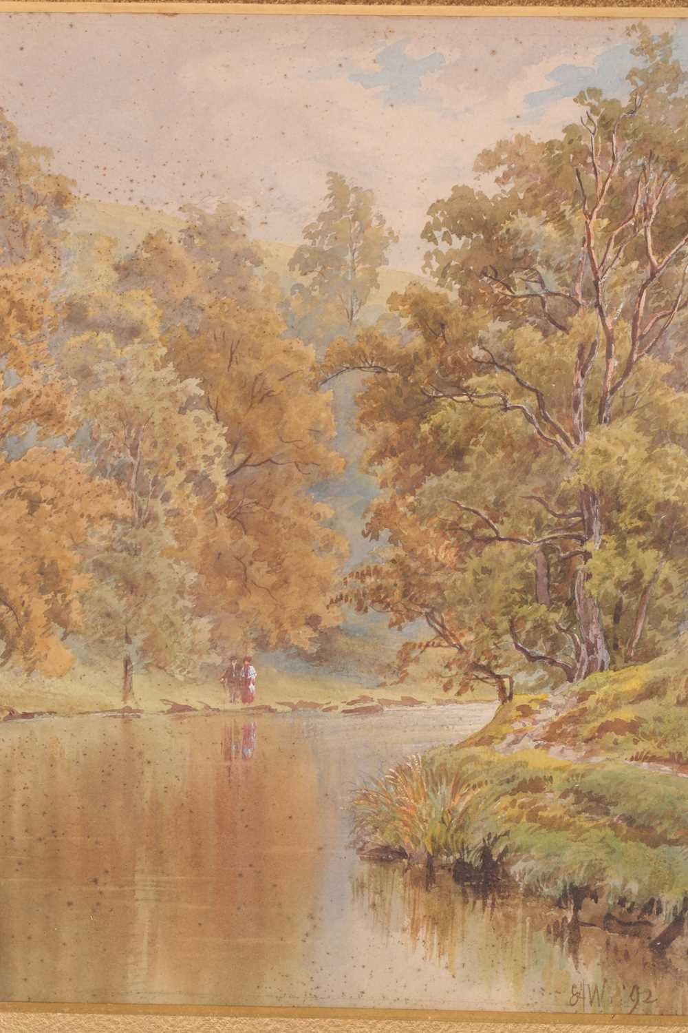 Ernest Albert Waterlow, (1850-1919), Walking in a river landscape, watercolour, signed with monogram - Image 2 of 5