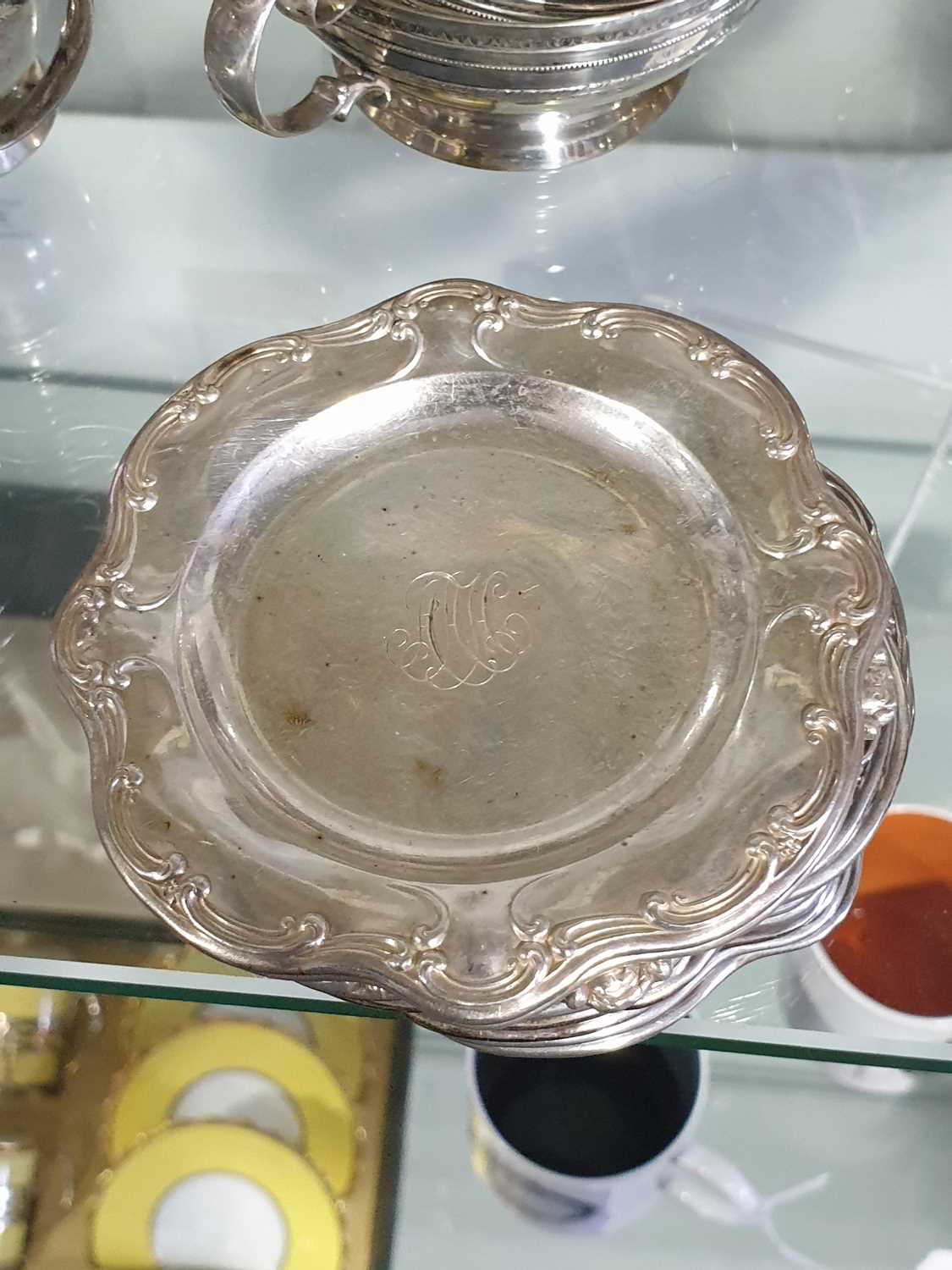 A Lenox Porcelain coffee and dessert service, set in Gorham Sterling Silver mounts, comprising - Image 17 of 26