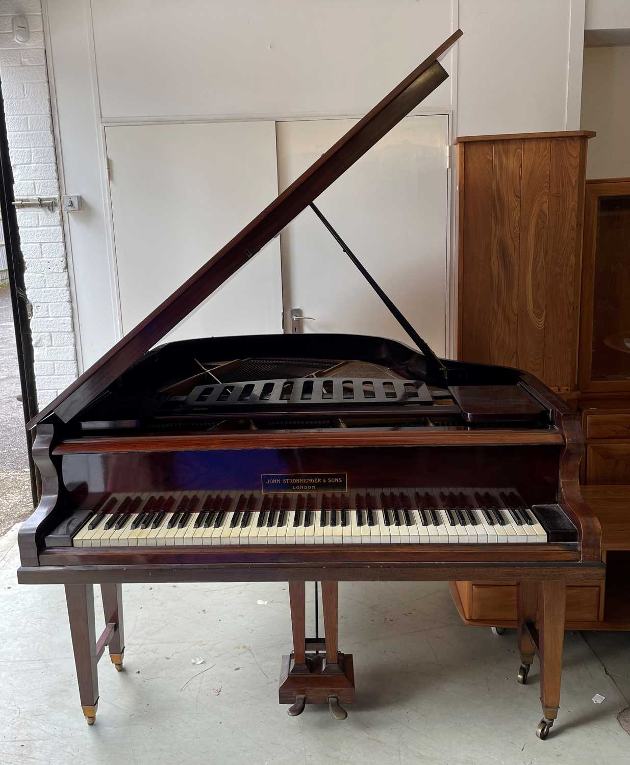 A mahogany cased baby grand piano, by John Strohmenger & Sons, London, 143 cm wide x 101 cm high x - Image 2 of 21