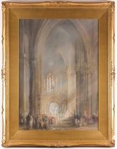 Frank Wasley RWS (1848-1934), 'Amiens Cathedral - Procession of Corpus Christi', a large