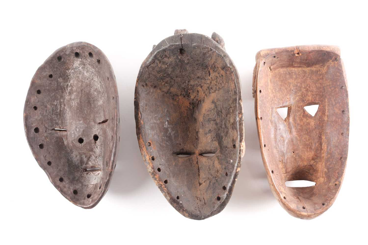 A Guere mask, Ivory Coast, the protruding forehead with geometric carving, above triangular eyes - Image 2 of 2