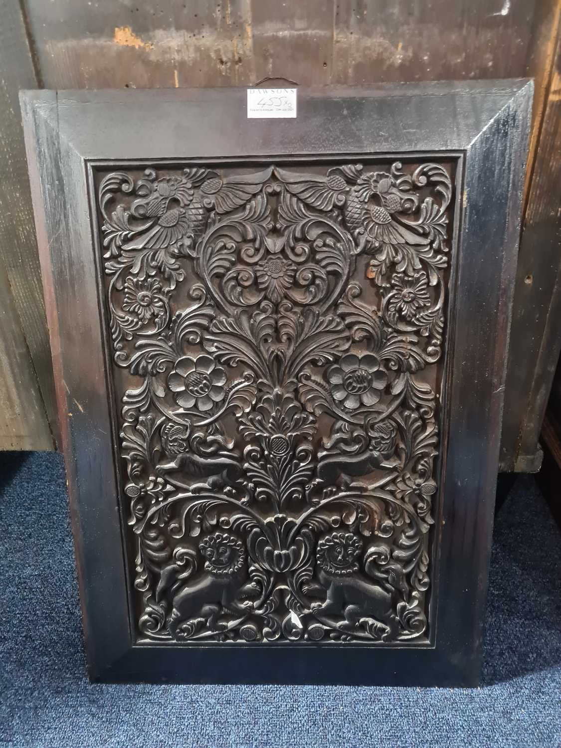 An English oak carved panel, late 19th century, carved with assorted fruits tied by a large - Image 6 of 7