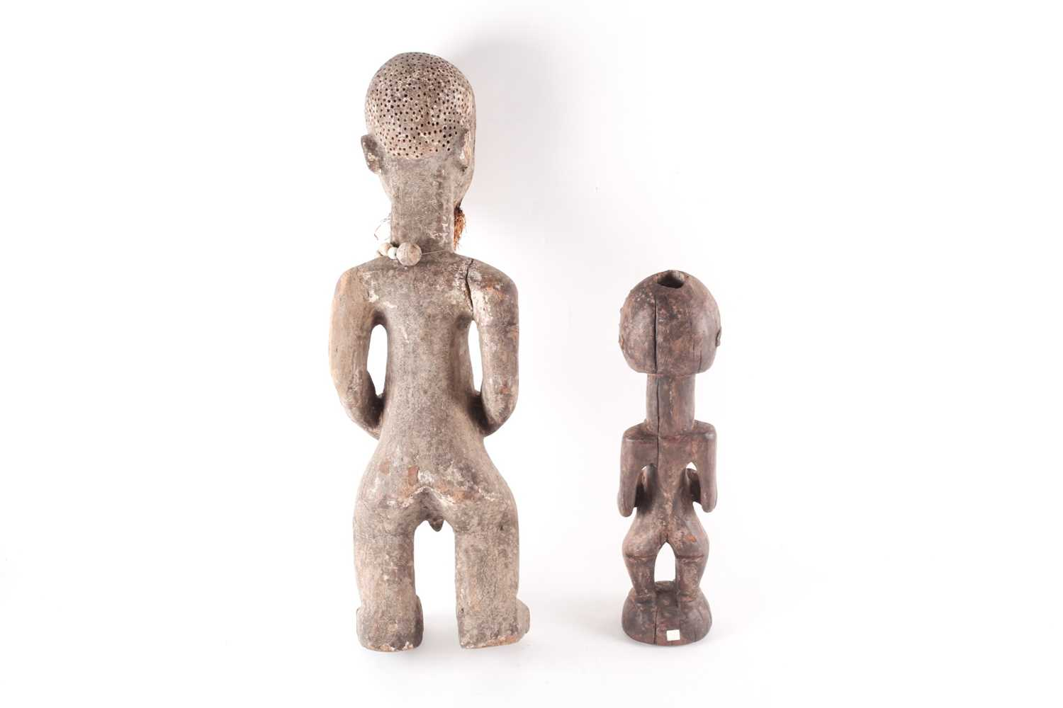 A Songye standing male reliquary power figure, Democratic Republic of Congo, the crown of the head - Image 3 of 3