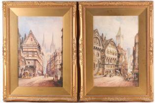 Cecil Jack Keats (19th/20th century), scenes of Caen & Quimper, watercolours, each signed, 49 cm x