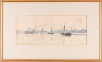 William Lionel Wyllie RA, RBA, RE, RI, NEAC (1851-1931), boats off an industrial coastline,