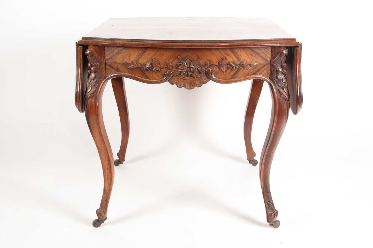 A Louis XV style two flap low rosewood table of serpentine form. Fitted a single frieze drawer - Image 3 of 7