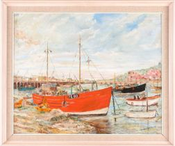 H W Britcher, 'Folkestone Harbour', oil on board, signed and dated 1975, 45.5 cm x 56.5 cm in a