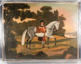 English Naive School, 18th century, Portrait of a dapple grey horse and groom in a landscape, oil on